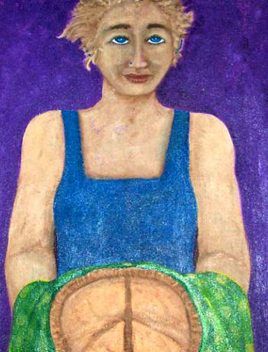 Green Towel Pie Woman, acrylic on canvas, Patricia C. Coleman
