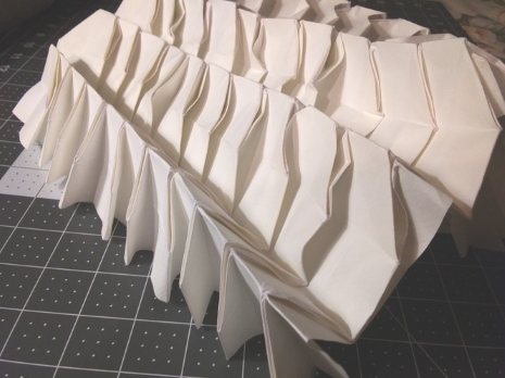 Untitled summer fold, overlapping pleats  on ridges, reverse is boxy with tiny triangles